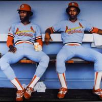 Tony Scott and Garry Templeton, Dodger Stadium, Los Angeles, CA
